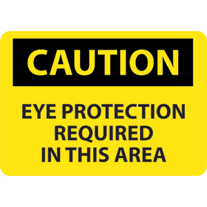 National Marker C26RB Caution Eye Protection Required Sign, Plastic