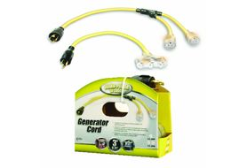 Coleman Cable 01924 Generator Adaptor Cord 12/4 3', L14-20P to 12/3 (2) Lighted 5-20R