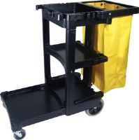 Rubbermaid 6173-88 Cleaning Cart w/ Yellow Vinyl Bag