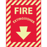 "National Marker GL10P Fire Extinguisher Sign,12x9"", Glow Vinyl"
