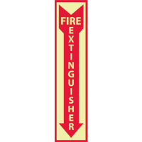 "National Marker GL23P Fire Extinguisher Sign,18x4"", Glow Vinyl"