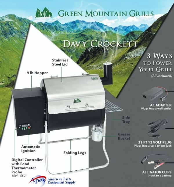 The GMG Davy Crockett Grill Features 3 Ways to Power the Unit.  Smoke, Bake, Grill Anywhere!