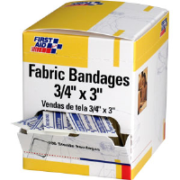 "First Aid Only H119 Adhesive Fabric Bandages,3/4 x 3"", 100/Bx."