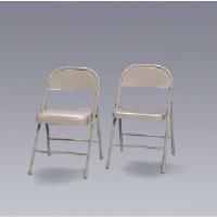 Hon Company FC02LBG Steel Folding Chair with Padded Seat, Beige