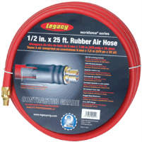 "Legacy HRE1225RD3 1/2"" X 25' Workforce Rubber Air Hose"