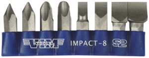 VIM Tools IMPACT-8 Hand Impact Driver Bit Replacement Set