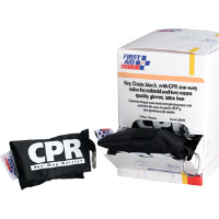 First Aid Only J5101 CPR Faceshield w/Gloves & Keychain Pouch, 15/Box