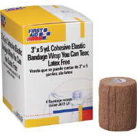 "First Aid Only J612-LF Tearable Cohesive Elastic Bandage, 3"" x 5 yds, 4/Box"