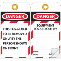National Marker JMTAG1 Danger Equipment Locked Out By: Tags, 10/Pk.
