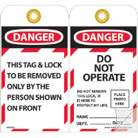 National Marker JMTAG2 Danger Do Not Operate Tags, 10/Pk.