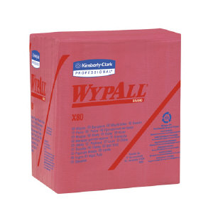 Kimberly Clark 41029 Wypall® X80 Shop Wipers, Red, 4/50
