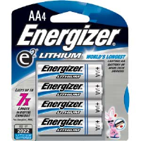 Energizer L91BP-4 Ultimate Lithium AA Batteries, 4/Pkg