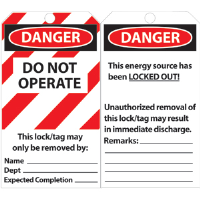 National Marker LLT1 Laminated Lockout Tags, Do Not Operate, 25/Pk.