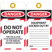 National Marker LOTAG10 Danger Lockout Tags, 10/Pk.