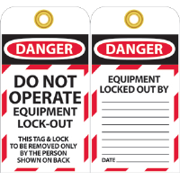National Marker LOTAG11 Danger Lockout Tags, 10/Pk.