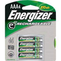 Energizer NH12BP-4 Rechargeable AAA Batteries, 4/Pkg