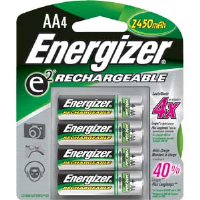 Energizer NH15BP-4 Rechargeable AA Batteries, 4/Pkg
