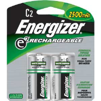 Energizer NH35BP-2 Rechargeable C Batteries, 2/Pkg