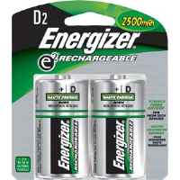 Energizer NH50BP-2 Rechargeable D Batteries, 2/Pkg