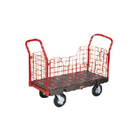 Rubbermaid 4485 BLA Side Panel Platform Truck, Pneumatic Casters