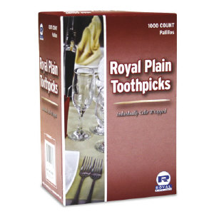 Royal Paper Products RIW15 Cello-Wrapped Wooden Toothpicks, Plain