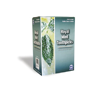 Royal Paper Products RM115 Cello-Wrapped Wooden Toothpicks, Mint