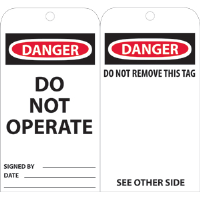 National Marker RPT1A Danger Do Not Operate Tags, 25/Pk.