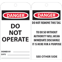 National Marker RPT1 Danger Do Not Operate w/Text Tags, 25/Pk.