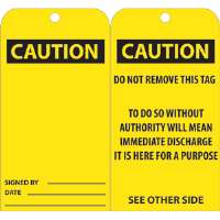 National Marker RPT28 CAUTION Tags, 25/Pk.