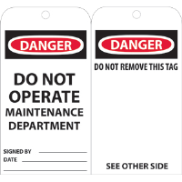 National Marker RPT2 Danger Do Not Operate Tags - Maintenance, 25/Pk.