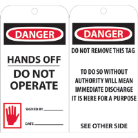 National Marker RPT33 Danger Hands Off Do Not Operate Tags, 25/Pk.