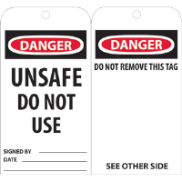 National Marker RPT34 Danger Unsafe Do Not Use Tags, 25/Pk.