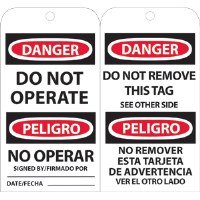National Marker RPT90 Danger Do Not Operate (Bilingual) Tags