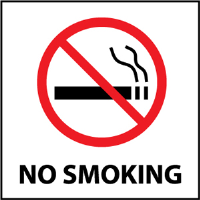 "National Marker S1AP ""No Smoking"" Sign, 4X4, Vinyl"