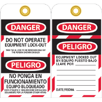 National Marker SPLOTAG11 Bilingual Lockout Tags, 10/Pk.