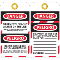 National Marker SPLOTAG12 Bilingual Lockout Tags, 10/Pk.