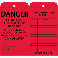National Marker SPT1 Standard Scaffold Inspection Tags, Red, 25/Pk.