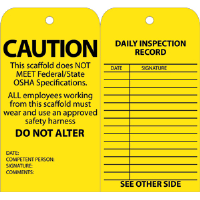 National Marker SPT2 Standard Scaffold Inspection Tags, Yellow, 25/Pk.