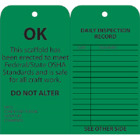 National Marker SPT3 Standard Scaffold Inspection Tags, Green, 25/Pk.