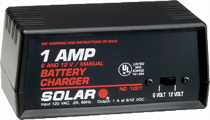Solar 1001 Portable 1 Amp 6/12 Volt Battery Charger