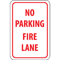 "National Marker TM3H ""No Parking Fire Lane"" Sign, 18X12, .063 Alum."