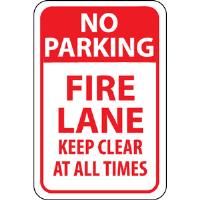 "National Marker TM47J ""No Parking Fire Lane Keep Clear"" Sign"