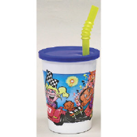 WNA Inc. VK3CARS Thermoformed Race Car Plastic Fun Cups™ with Lid/Straw