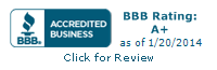 BBB Accredited Business BBB Rating A+ as of 1/20/2014
